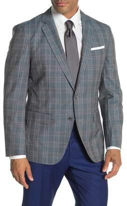 BOSS Hartlay Medium Blue Plaid Two Button Notch Lapel Virgin Wool Slim Fit Suit Separates Blazer