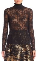Oscar de la Renta Sheer Lace Turtleneck Top