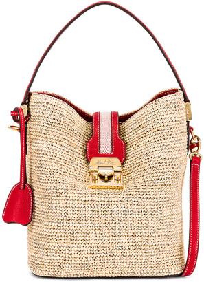 Mark Cross Murphy Raffia Bucket Bag in Red   FWRD