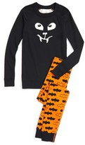 Hanna Andersson 'Halloween Bat' Glow in the Dark Organic Cotton Fitted Two-Piece Pajamas