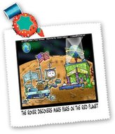 3dRose LLC qs_2935_1 Londons Times Funny Aliens Cartoons - Another Space Suprise - Quilt Squares