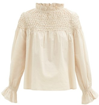 Merlette New York Majorelle Smocked Cotton-lawn Blouse - Beige