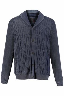JP 1880 Men's Big & Tall Stone Wash Texture Cardigan Sweater Blue Denim XXXXXX-Large 720093 92-6XL