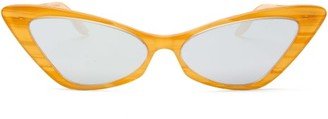 Gucci Mirrored Cat-eye Acetate And Metal Sunglasses - Womens - Yellow Multi
