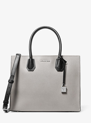 MICHAEL Michael Kors MK Mercer Large Color-Block Saffiano Leather Tote Bag - Pgry/opt/blk - Michael Kors