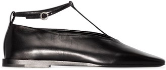 Jil Sander buckle T-bar leather ballerina shoes