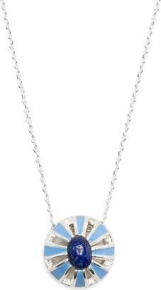 AKANSHA SETHI lapis lazuli enamel Button necklace