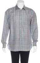 Luciano Barbera Plaid Linen-Blend Shirt w/ Tags