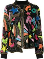 Diesel bead- and sequin-embellished bomber jacket