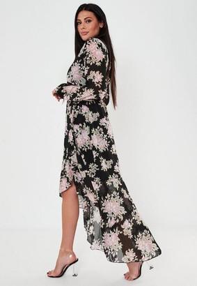 Missguided Plus Size Black Floral High Low Wrap Midi Dress