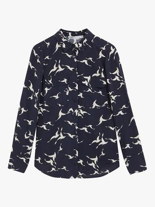 Oasis Shadow Bird Print Shirt, Blue/Multi