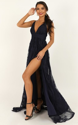 Showpo Prom Loving Dress in navy lace - 6 (XS) Dresses