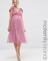 Little Mistress Maternity Embellished Cold Shoulder Plunge Midi Dress