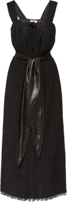 Nanushka Rita Tie-Detailed Frayed Cotton-Blend Midi Dress