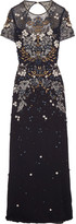 Jenny Packham Cutout Embellished Tulle Gown - Navy