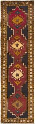 """Ecarpetgallery One-of-a-Kind Meshkin Hand-Knotted Runner 3'5"""" x 13'1"""" Wool Dark Red Area Rug"""