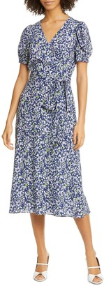 Tanya Taylor Dorothy Floral Silk Wrap Midi Dress