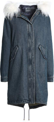 Yves Salomon Reversible Shearling-trimmed Denim And Quilted Shell Hooded Parka