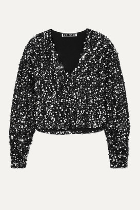 Rotate by Birger Christensen Masha Sequined Boucle Top - Silver
