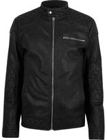 River Island Mens Black faux leather racer jacket