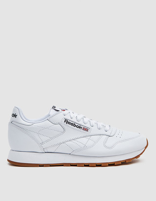 Reebok CL Leather Sneaker in White/Black/Gum, Size M 4.5/W 5.5 | Leather/Rubber/Synthetic