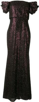 Badgley Mischka Sequin Off Shoulder Gown