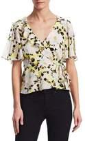 Nanette Lepore Rose Silk Wrap Top