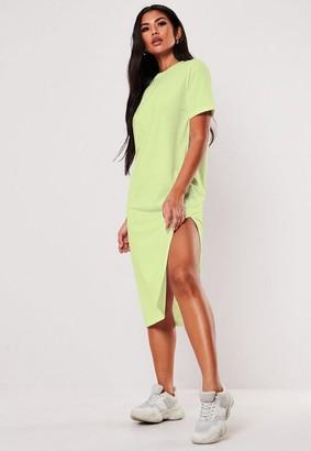 Missguided Lime Basic Midi T Shirt Dress