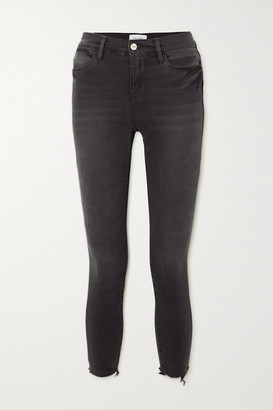 Frame Le High Raw Skinny Jeans - Black