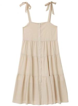 Goodnight Macaroon 'Valerie' Tie Strap Button Tiered Midi Dress
