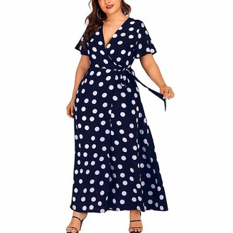 Toamen Women's Dress Toamen Women Dresses Sale Plus Size Short Sleeves Wrap V Neck Belted Empire Waist Asymmetrical High Low Bohemian Party Maxi Dress (Navy 22)