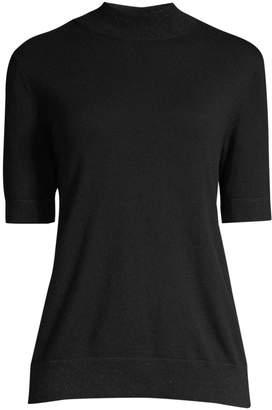 Lafayette 148 New York Cashmere Short-Sleeve Turtleneck Pullover