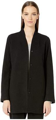 Eileen Fisher Cotton Tencel Stretch Chevron High Collar Long Jacket (Black) Women's Coat
