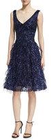 David Meister Sleeveless Lace Eyelash Dress, Royal