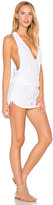 Luli Fama T Back Mini Dress in White. - size L (also in M,S,XS)