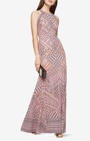 BCBGMAXAZRIA Felicia Geometric Burnout Print Gown