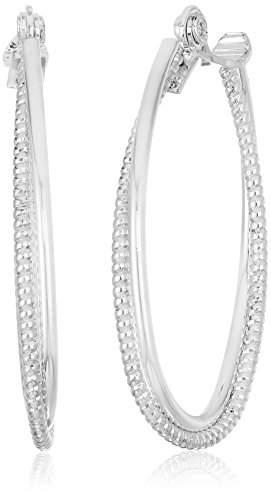 Anne Klein Women's Large Textured Hoop Clip On Earrings