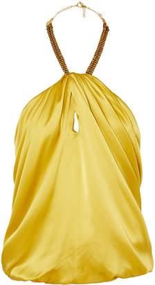 HANEY Claudia Embellished Silk-satin Halterneck Top