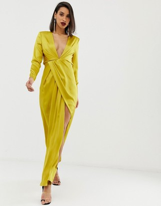 Asos EDITION split side plunge maxi in satin