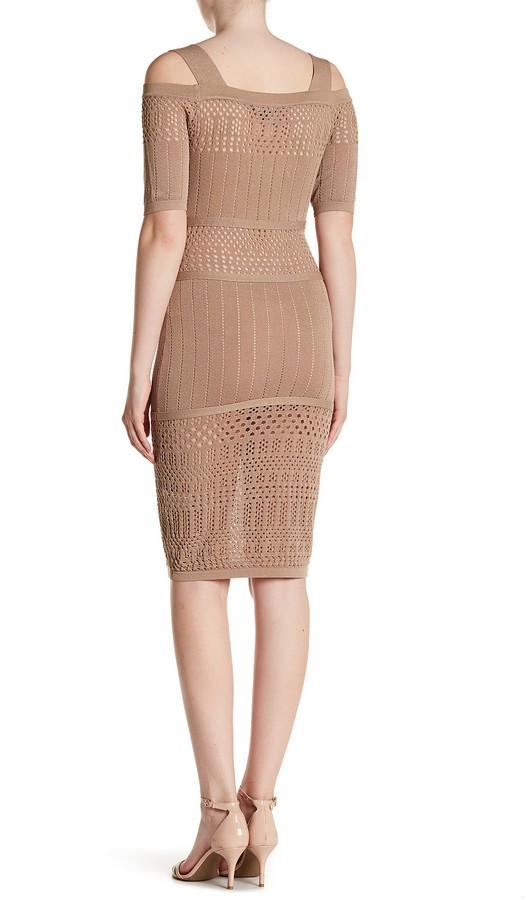 Wow Couture Cold Shoulder Embroidered Knit Dress