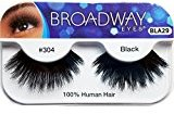 Broadway Eyes False Strip Eyelashes 100% Human Hair Black #304, BLA29 (12 Pack)