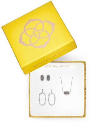 Kendra Scott Elisa Necklace, Ellie Earrings, & Elle Open Frame Crystal Earrings Gift Set