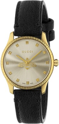 Gucci G-Timeless Bee Leather Strap Watch, 32mm