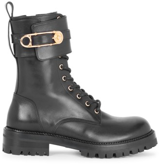 Versace Safety Pin Leather Combat Boots
