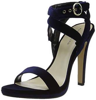 Karen Millen Fashions Limited Women's Velvet Heeled Sandals Open Toe Heels, (Blue 06), 5 (38 EU)