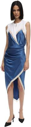 Alexander Wang Asymmetric Satin & Cotton Jersey Dress
