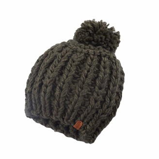 Guiran Womens Soft Cable Knit Hat Bobble Hat Warm Winter Beanie Hat With Pompom Army Green Head Circumference:56-58CM