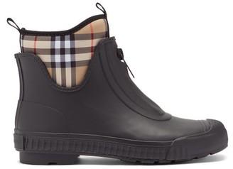 Burberry Flinton Vintage-check Neoprene & Rubber Rain Boots - Black Multi