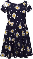 Bonnie Jean Girls 7-16 Lattice Cutout Sleeve Daisy Skater Dress