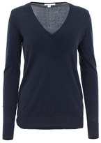 Minnie Rose S36225C16 Cotton Long And Lean V-Neck Pullover Sweater In Navy